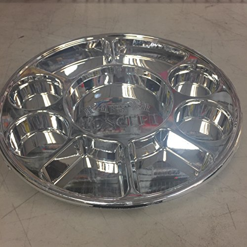 Movie Time Video 50 Piece 9 Compartments Round Disposable Party Tray/Thali/Plates, Silver by Movie Time Video