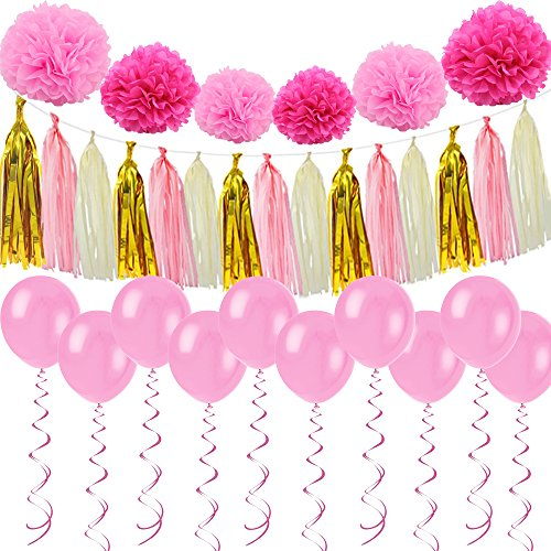 Lacheln Party Decoration Tissue Paper Pom Poms Flowers Tassel Garland Balloon Kit All-in-One Pack for Wedding Kid's Birthday, 31 Pcs
