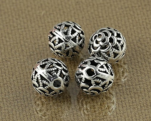 - Luoyi Vintage Thai Sterling Silver Beads, Round with Rose Flower, Hollow, Spacer Beads, DIY (C015Z)
