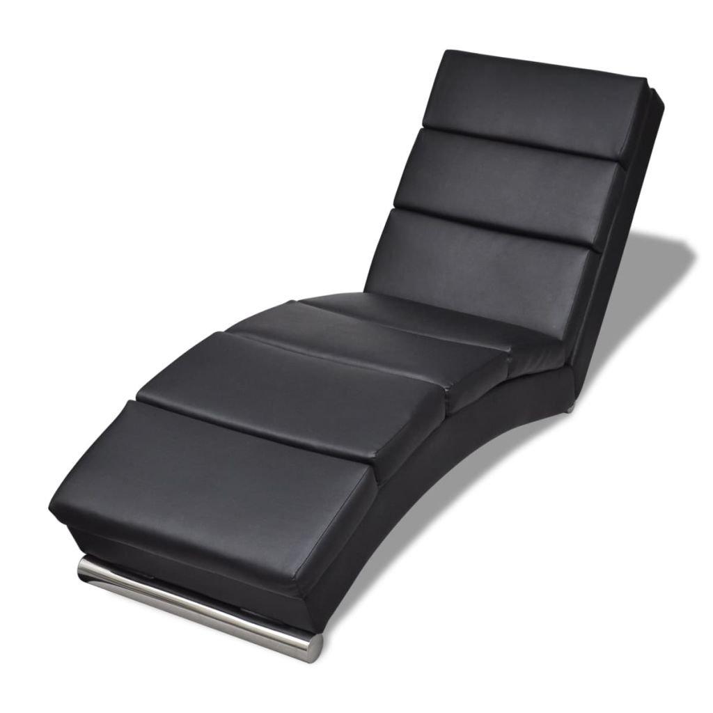 vidaXL Chaise longue noire