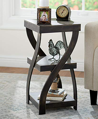 (The Lakeside Collection Antique Finish Twisted Side Table - Distressed Black)