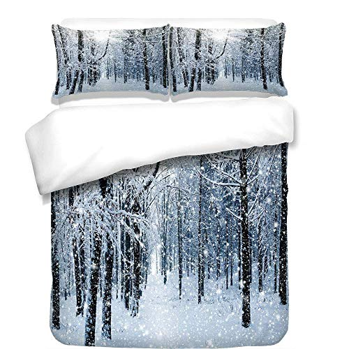 YCHY 3Pcs Duvet Cover Set,Winter,Forest in Winter Snow Freezing Temperatures Frozen Barren Jungle Environment Photo,Best Bedding Gifts for Family/Friends