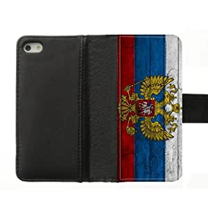 Russia Flag Eagles Custom iPhone5S Case Leather Flip Cover