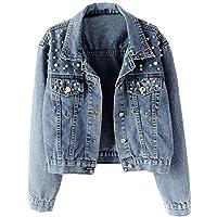 Kedera Women Oversized Denim Jacket Pearls Beading Jeans Coat 2XL (Blue, Medium)