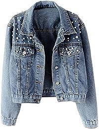 Women Oversized Denim Jacket Pearls Beading Jeans Coat 2XL