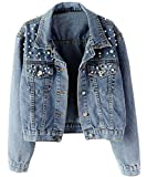 Kedera Women Oversized Denim Jacket Pearls Beading Jeans Coat 2XL (Blue, Medium)