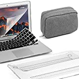 GMYLE 4 in 1 Bundle Clear Transparent Glossy Hard Plastic Case for MacBook Air 13 inch (A1369/A1466), Grey Fleece Fabric Storage Organizer Pouch Bag, Black Silicone Keyboard Cover and Screen Protector