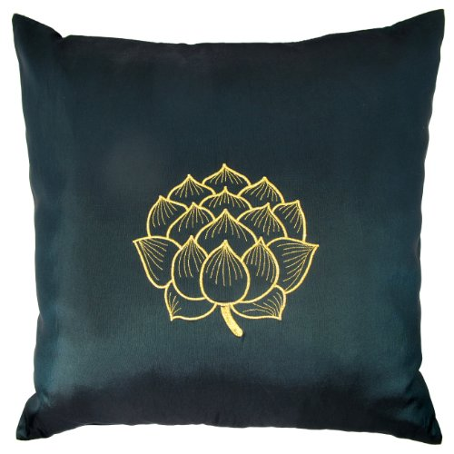 Contemporary Thai Silk Throw Pillow Cover (Cushion Cover), Gold Embroidered Blooming Lotus Design, 16