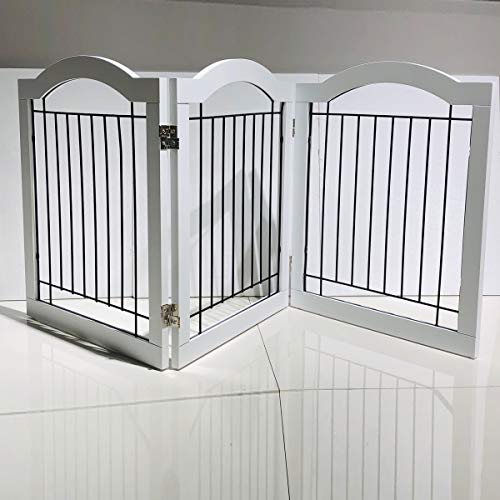 Homeguru Wire Dog Gate with Arched Top | 24 Inch Tall Pet Puppy Safety Fence | Fully Assembled | Durable MDF | Folding Z…
