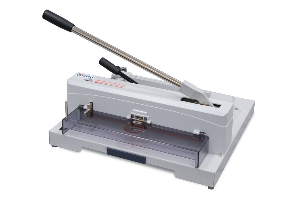 United Tabletop Guillotine Cutter, 150 Sheet Capacity, LED Laser Line, Calibrated Scales, Carbon Steel Blade and Solid Steel Construction, Grey