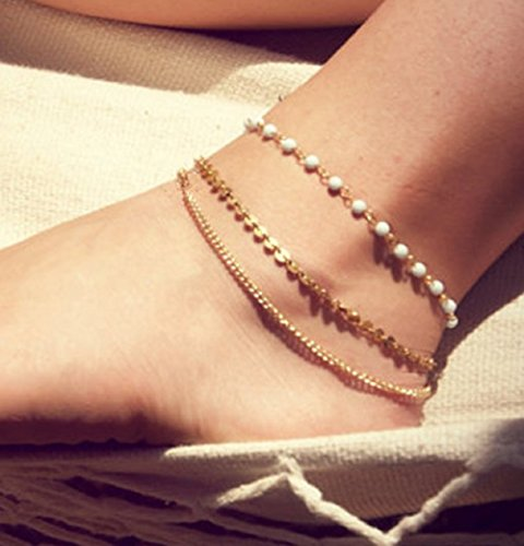 Leiothrix Vogue Bohemian Simple Multilayer White Beads & Paillette Alloy Anklet for Women and Girls Apply to Party Beach Casual Photograph
