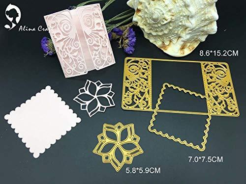 SMALL-CHIPINC - Metal cutting dies cut gatefold pocket insert card 3pc flower flower rectsangle frame Scrapbook paper craft knife emboss cutter ()