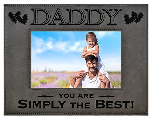 (GK Grand Personal-Touch Premium Creations Daddy Gift ~ Daddy You are Simply The Best! Engraved Leatherette Picture Frame Grandfather Dad Birthday Daddy Daughter Son Best Daddy Ever (5x7, Gray))