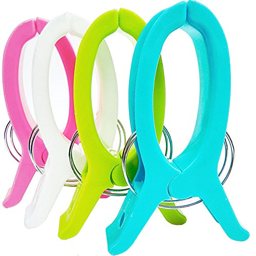 DayCount Pack of 4 Beach Towel Clips, Large Balcony Clips fo