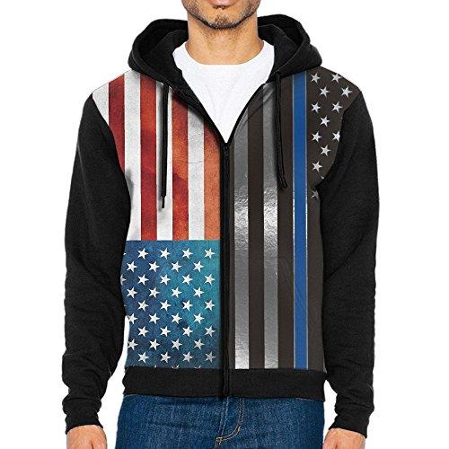 Burgundy Lines Full Zip Jacket (AWAWAWAWA Men's USA Thin Blue Line Flag Full Zip Hoodie Sweatshirt Cool Jacket Coat Outwear)