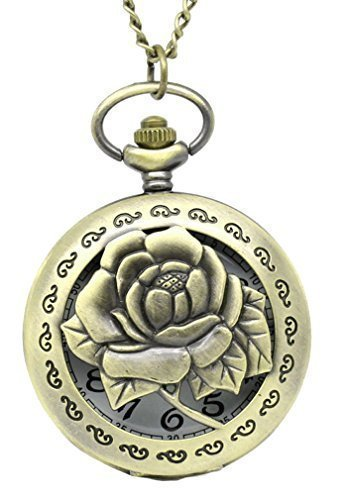 Souarts Antique Bronze Color Round Pocket Watch Hollow Rose Flower Engraved with Chain 83cm