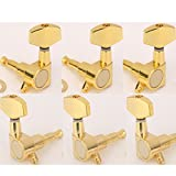 Musiclily 3+3 Big Button Guitar Sealed Tuners Tuning Key Pegs Machine Head Set, Gold