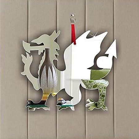 Pack of 5 Welsh Dragon Acrylic Mirror Ornament - Window Hanging - Ceiling - Door - Nursery - Children - Room Decoration Mirrors-interiors