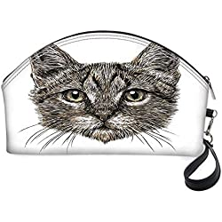 """Animal Decor Small portable cosmetic bag,Cute Little Chubby Cat Head Looking Innocently with Long Whiskers Sketchy Like Art for Women,10.8""""Lx3.3""""Wx6.6""""H"""