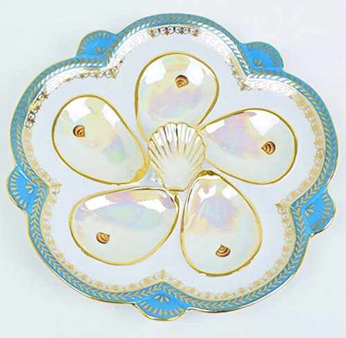 Christmas Tablescape Decor - Teal light blue porcelain and mother-of-pearl oyster plate trimmed in 18-k gold