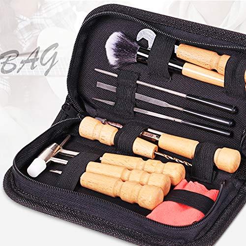 hAohAnwuyg Guitar Repair Tool,Musical Instruments,Portable Guitar Ukulele Bass Banjo Violin Repair Maintenance Cleaning Tool Set - Black