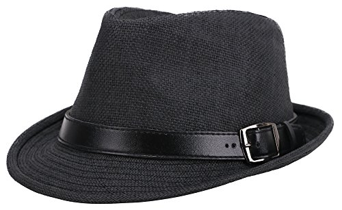 Adult UV Sun Protective Panama Style Straw Fedora Hat,Black Hat Black Belt,59cm (40s And 50s)