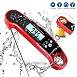 Instant Read Meat Thermometer, Digital Meat Thermometer for Grilling with Fodable Probe, Backlight LCD Digital Cooking Thermometer, Fast 3-4s Response Digital Food Thermometer with Bottle Opener