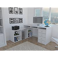 Houston L Shaped Corner Desk with four doors, classic design White
