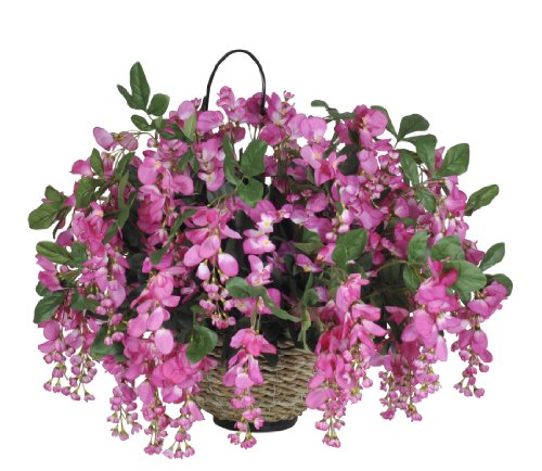 House of Silk Flowers Artificial Wisteria Hanging Basket (Fuchsia) ()
