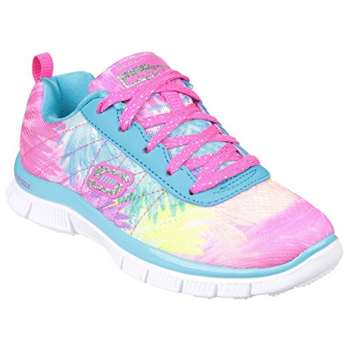Skechers Girls Skech Appeal Sunlite Printed Textile Trainers Blue Multi