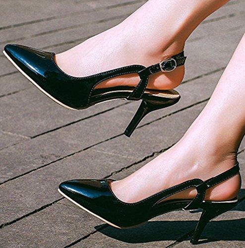 IDIFU Womens Sexy Slingback Stiletto Kitten Heels Pumps Pointed Toe Buckle Sandals Black mEJedfWSM