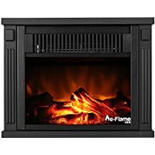 e-Flame USA Fairbanks Portable Personal Space Heater Fireplace Stove by 10.5-inches Tall Freestanding Fireplace Featuring Heater and Fan Settings with Realistic and Brightly Burning Fire and Logs
