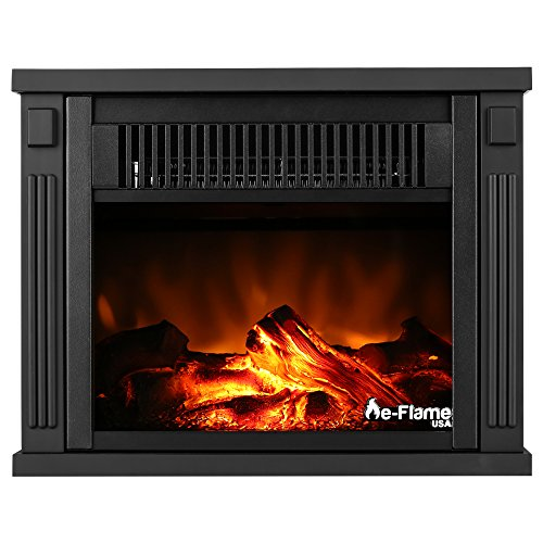 Fairbanks Portable Free Standing Electric Fireplace Stove by e-Flame USA – 10.5-inches Tall – Features Heater and Fan Settings with Realistic and Brightly Burning Fire and Logs (Indoor Lighter Garage)