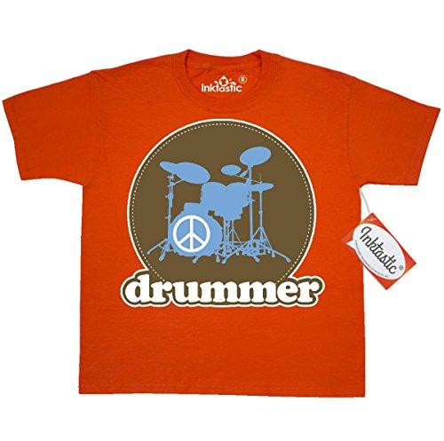 inktastic-big-boys-cool-brown-retro-drummer-youth-t-shirt-youth-small-6-8-burnt-orange
