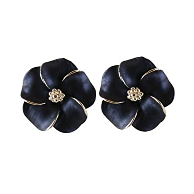 Anemone Navy Blue Enamel Flower Silver Tone Stud Pierced Earrings With Gift Box Y97oT