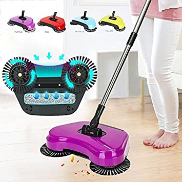 Bellveen Stainless Steel Multifunction 360 Degree Rotating Hand Push Vacuum Automatic Dustpan Broom Handle Cleaning Machine Floor Cleaner for Home