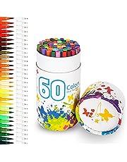 Rotuladores, Chuangmeida puntas dobles, plumas de acuarela con resaltadores de 2 mm, pinceles y puntas finas de 0,4 mm para dibujar, dibujar, pintar, resaltar y subrayar el diseño, niños y adultos