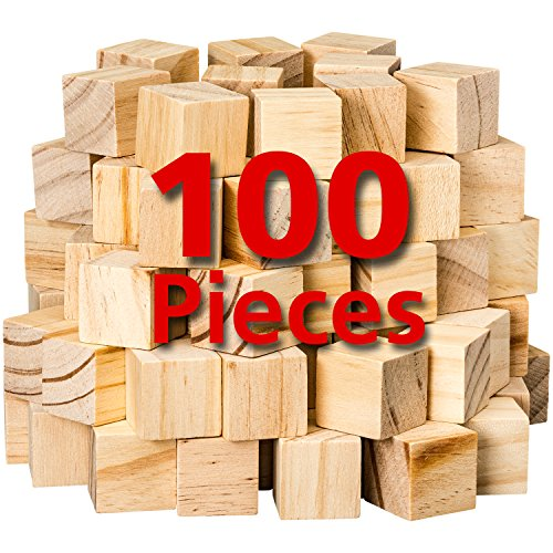 Wooden Cubes for Arts and Crafts - DIY - Photo Blocks - 1 Inch Unfinished Natural Wood Blocks - 100 Pieces - by Dragon Drew