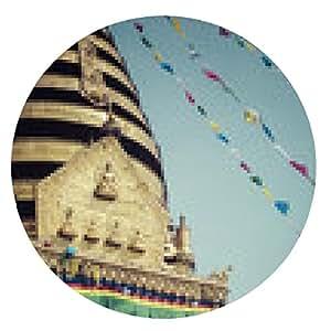 alfombrilla de ratón Swayambhunath Stupa en templo del mono en Katmandú, Nepal. - ronda - 20cm