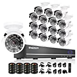 TMEZON 16CH Channel HDMI DVR CCTV Kits Security Cameras System 800tvl IR Cut Outdoor Bullet Hi-Resolution Video Surveillance Cameras