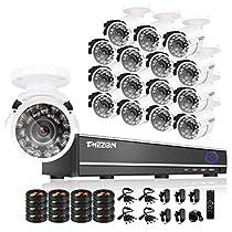 TMEZON 16CH CCTV Security DVR System with 16x 800tvl Hi-Resolution IR Cut Outdoor Security Surveillance Cameras Weatherproof Remote Access Mobile NO HDD