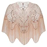 BABEYOND 1920s Shawl Wraps Gatsby Beaded Evening Cape Bridal Shawl for Evening Dresses Wedding Party (Champagne)