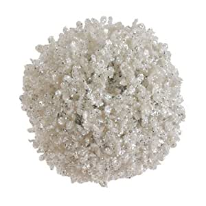 RAZ Imports - Glittered White Ball Ornament 6""