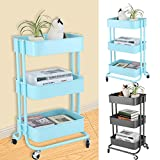 Multifunctional Rolling Utility Cart-Adjustable 3 Tier Metal Storage Rack Trolley Cart Home Kitchen Mobile Rolling Trolley With Wheels (Green)