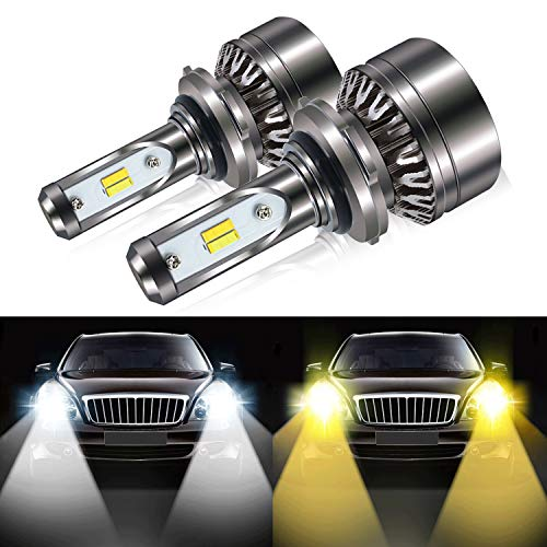 (9006 HB4 Led Headlight Bulbs, 8000LM Extremely Bright Dual Color (6000K/3000K) Anti-Flicker Conversion Kit Halogen Bulbs Replacement - Cool White/Golden Yellow - 2 Years Warranty)
