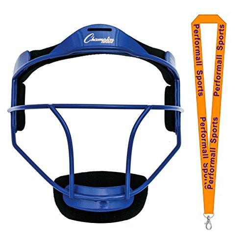 - Champion Sports Softball Fielder's Face Mask ADULT SIZE Blue Bundle with 1 Performall Lanyard FMABL-1P
