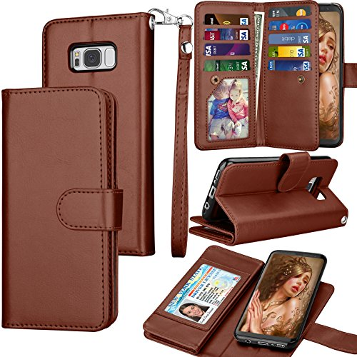 Tekcoo for Galaxy S8 Case/Galaxy S8 Wallet Case, Luxury ID Cash Credit Card Slots Holder Purse Carrying PU Leather Folio Flip Cover [Detachable Magnetic Case] & Kickstand for Samsung S8 - Brown