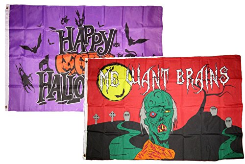 ALBATROS 3 ft x 5 ft Happy Halloween 2 Pack Flag Set Combo #23 Banner Grommets for Home and Parades, Official Party, All Weather Indoors -