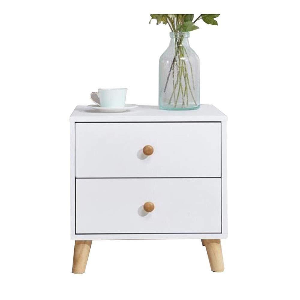 FENGFAN Tische Nachttisch mit 2 Schubladen, Seitenschrank aus Holz, Chic Nightstand Storage Unit Tisch (Color : White)