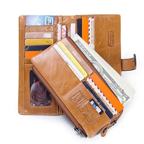 Contacts Männer echtes Leder Vintage Trifold Kartentelefon Clutch lange Geldbörse 18 Kartensteckplätze Braun